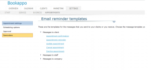 Email Reminder Menu