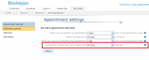 Online Booking Increments Settings